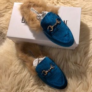 Shoes - Loafer Slides with Faux Fur Lining